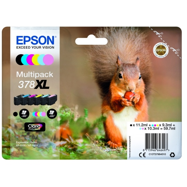 Epson 378XL black cyan magenta yellow photoc