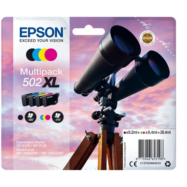 Epson 502XL black cyan magenta yellow
