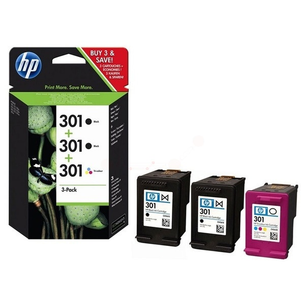 HP 301 black black color