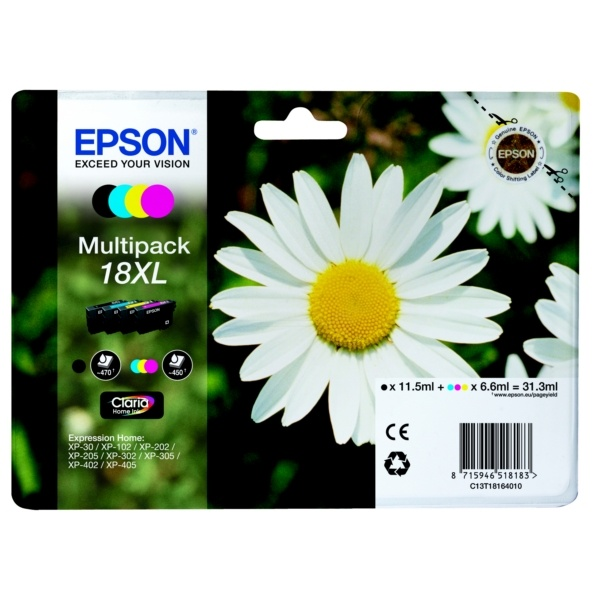 Epson 18XL black cyan magenta yellow