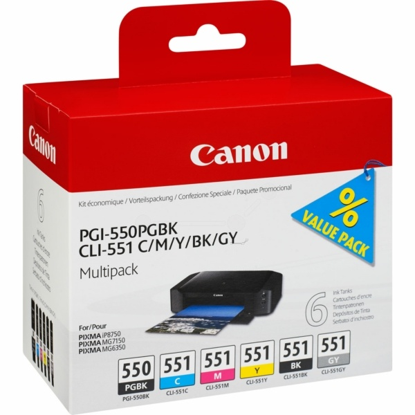 Canon 550 551 black cyan magenta yellow gray 7 ml
