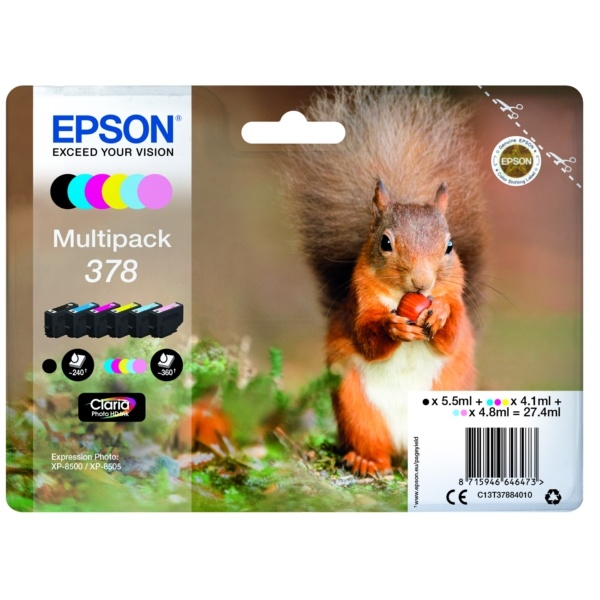 Epson 378 black cyan magenta yellow photoc
