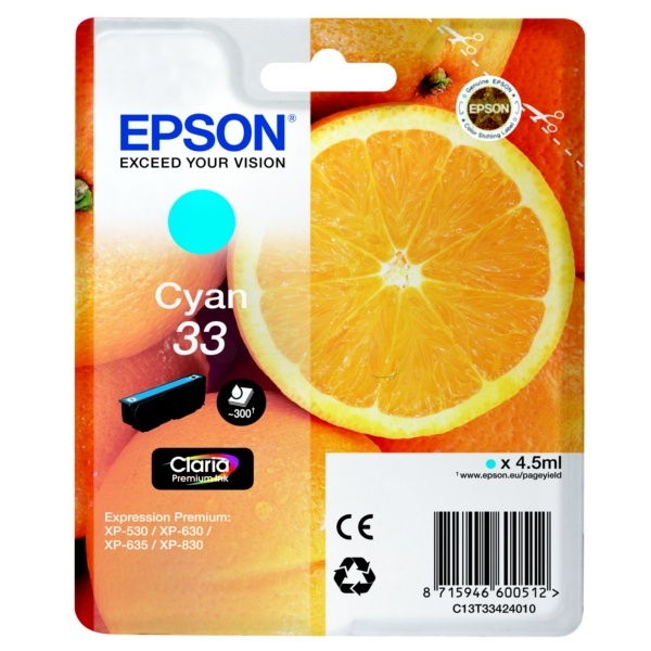 Epson 33 cyan 4,5 ml