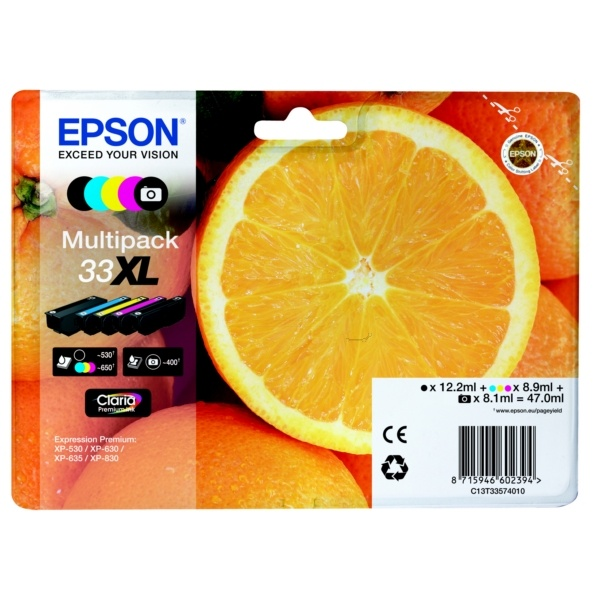 Epson 33XL black photoblack cyan magenta ye