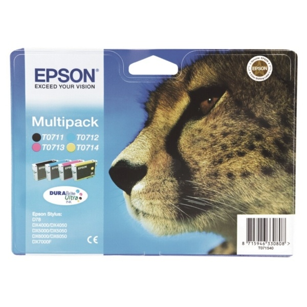 Epson T0715 black cyan magenta yellow
