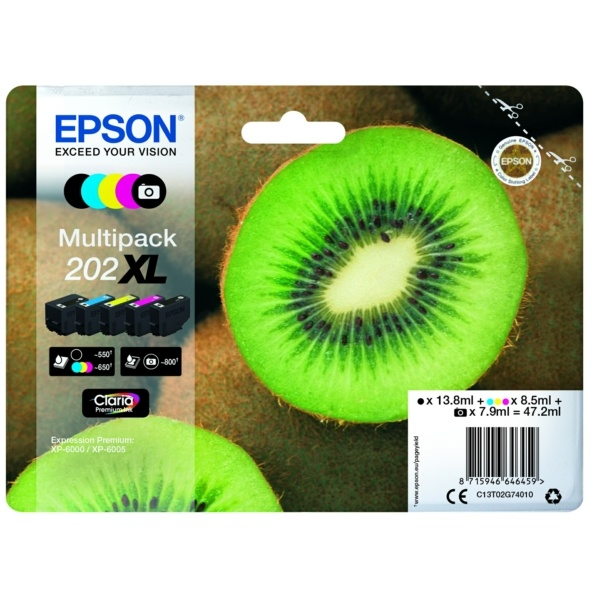 Epson 202XL black black cyan magenta yellow