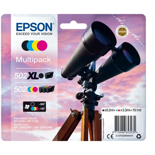Epson 502XL/502 black cyan magenta yellow